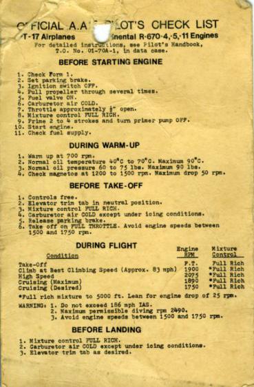 PT-17 Pilot's Check List WWII era $25
